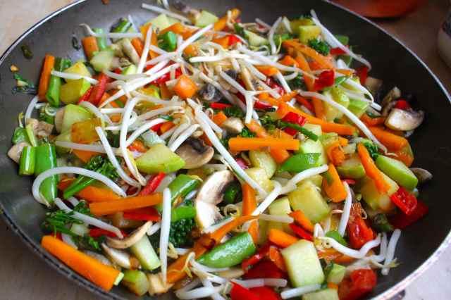large pan of stir fried veg