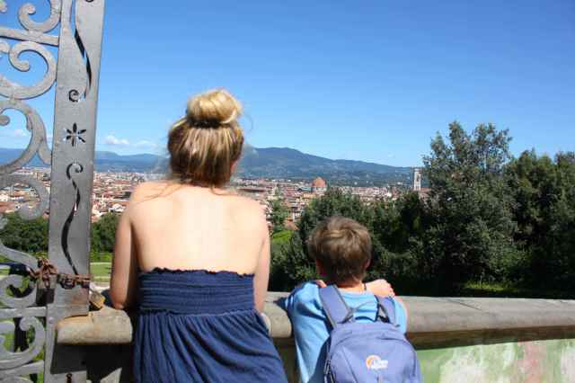 looking out at Florence from Boboli