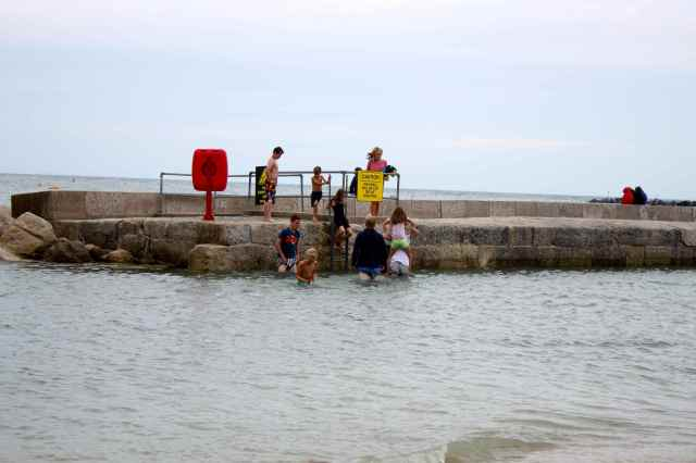 wading to the harbour wall