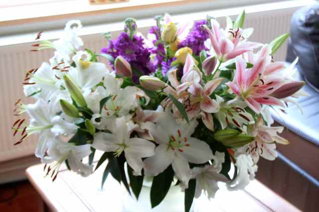 Birthday lilies and flowers