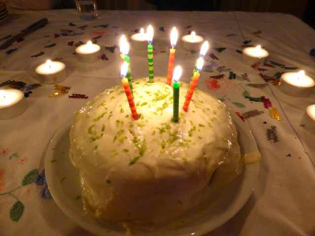Coconut and lime birthday cake