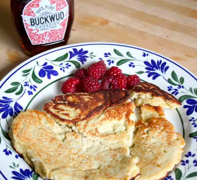 coconut pancake and maple syrup