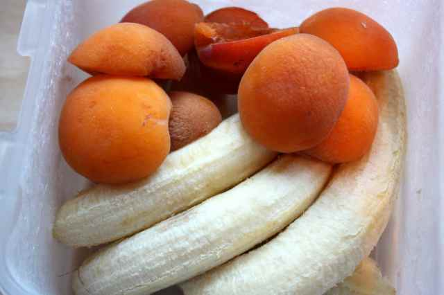 frozen bananas and apricots