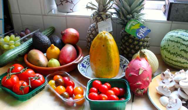 fruits and veg by window sill