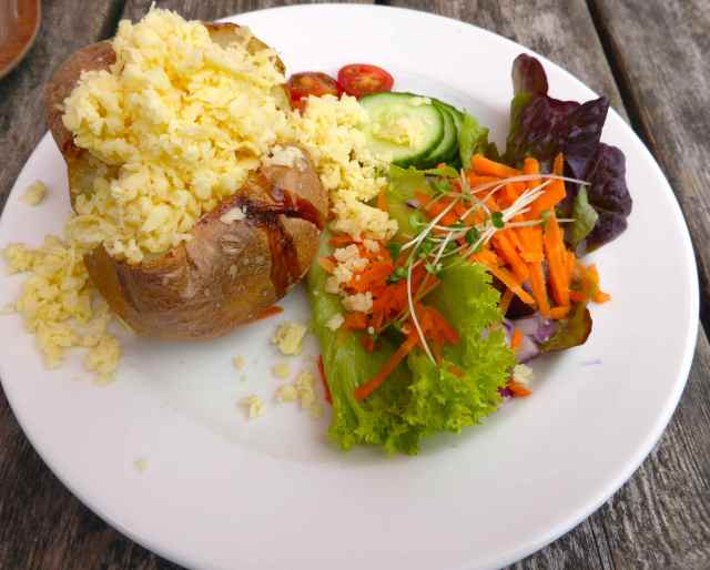 jacket potato and cheese and salad