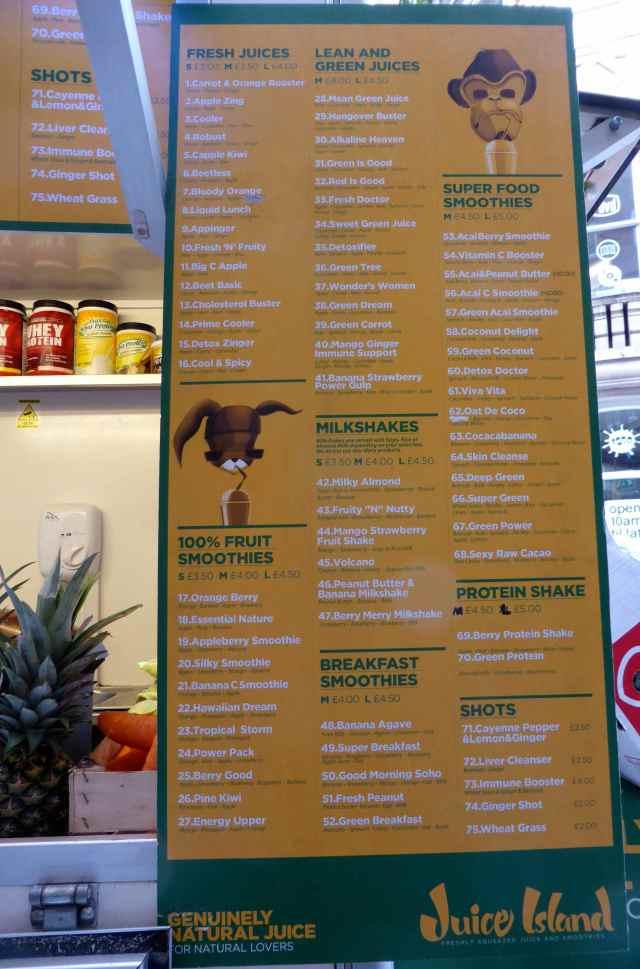Juice Island menu