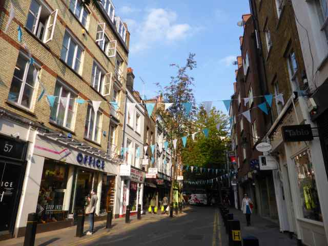 Neal St with bunting