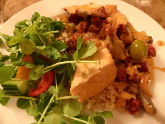 paprika chicken and salad