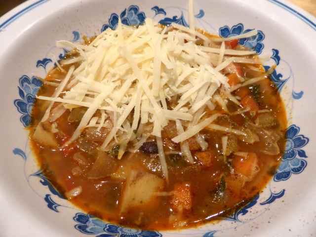 bean soup and Parmesan