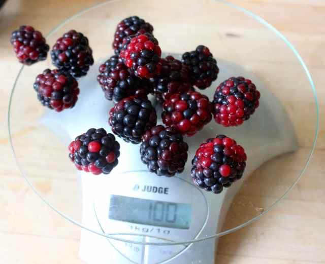 blackberries on scales