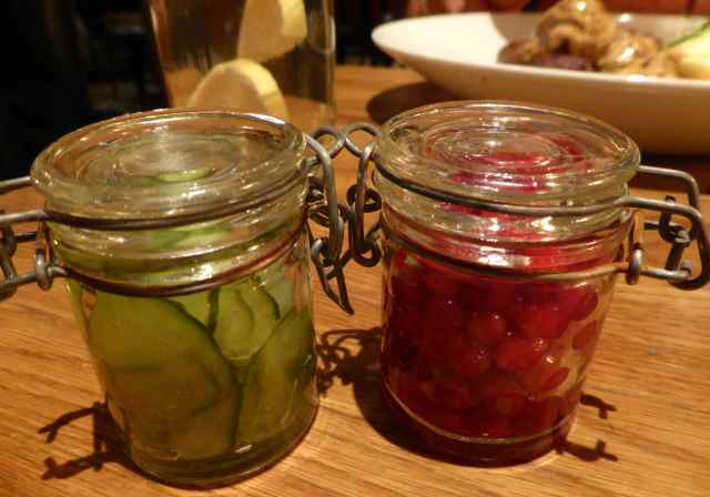 cucumber and lingonberries