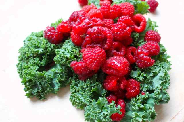 kale and raspberries