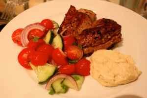 lamb, tomatoes, humous