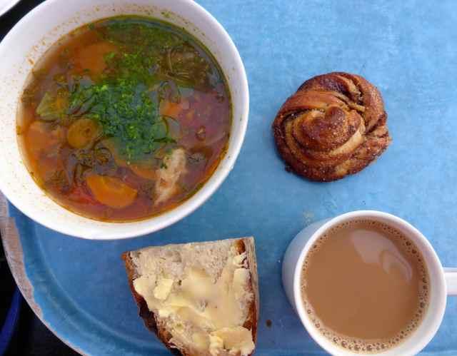 Ribolita and cinnamon bun