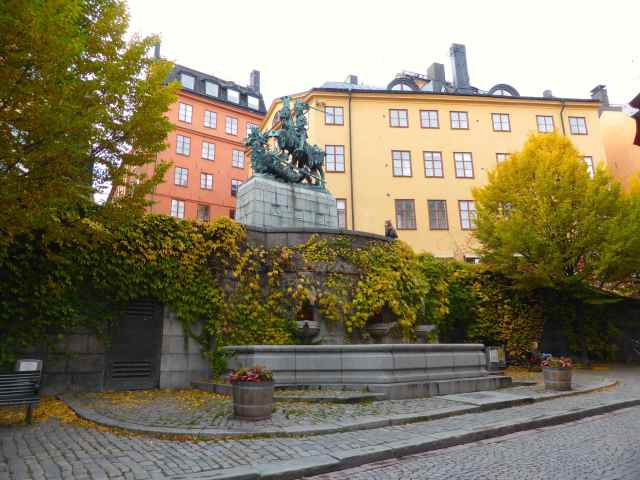 statue and fountain in Gamla Stan