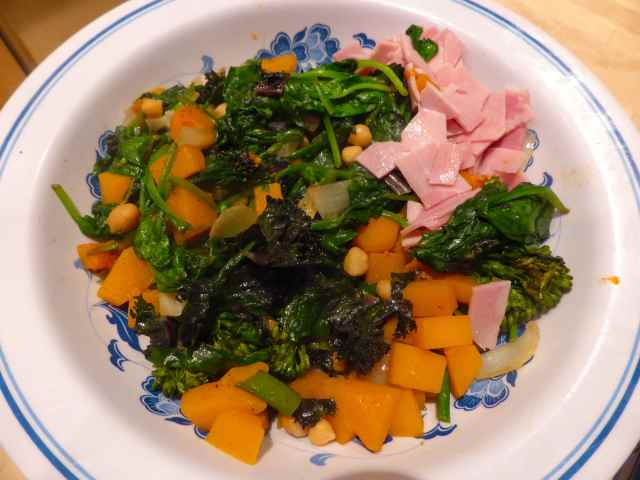 Stir fried veggies and ham