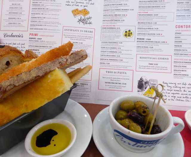 Carluccio's bread and olives