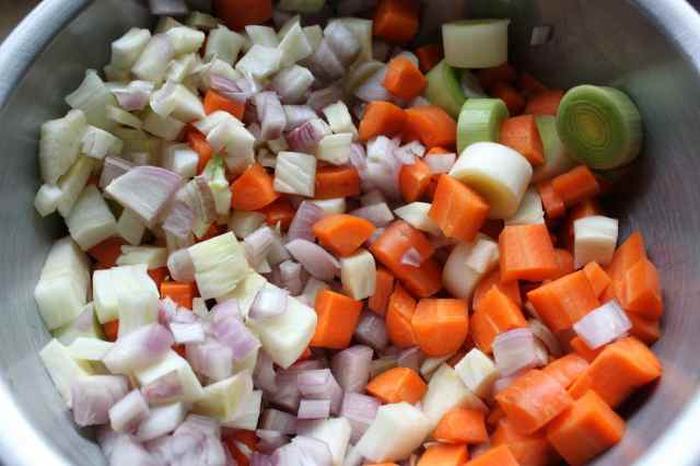 onion, carrots and leeks