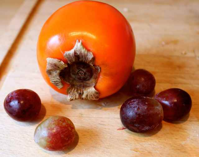 persimmon and grapes