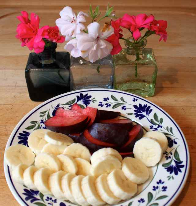 plum banana and flowers