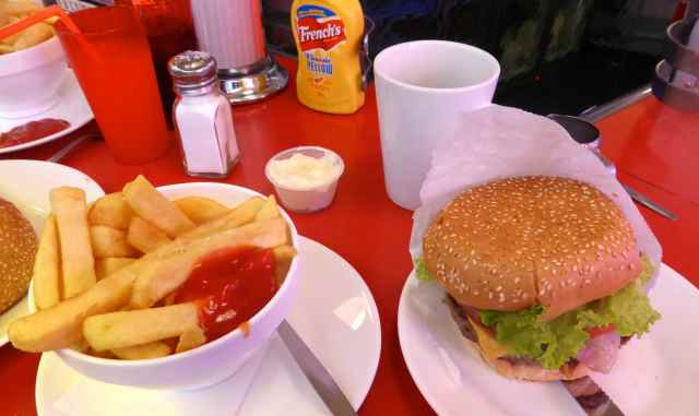 Ed's burger and chips