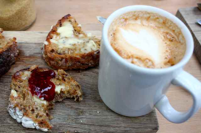 granary sourdough and coffee
