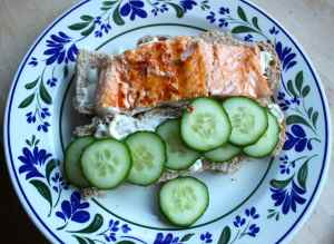 salmon and cucumber rolls