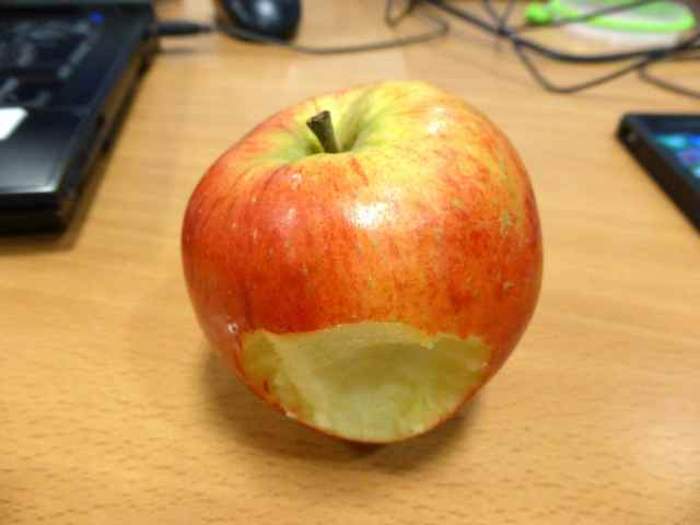 apple on desk