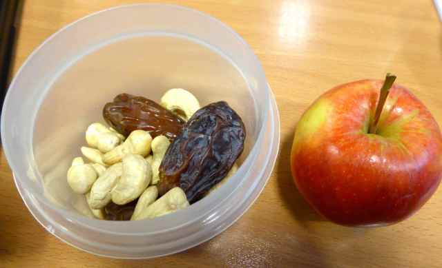 apples, dates, nuts