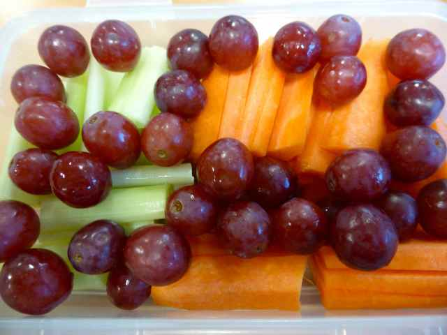 celery, carrots and red grapes