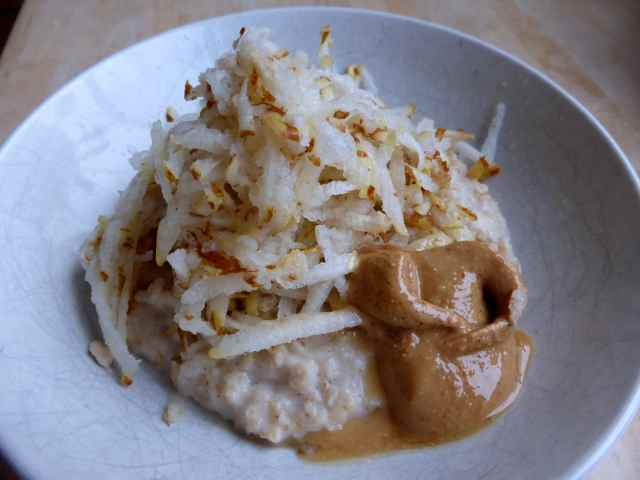 porridge and pear