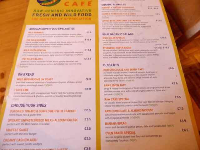 Wild Food menu