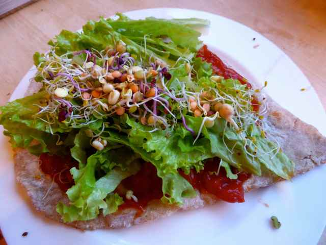 wrap ith lettuce and sprouts
