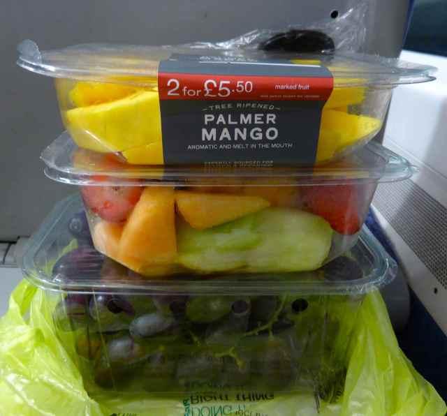 3 pots of fruit