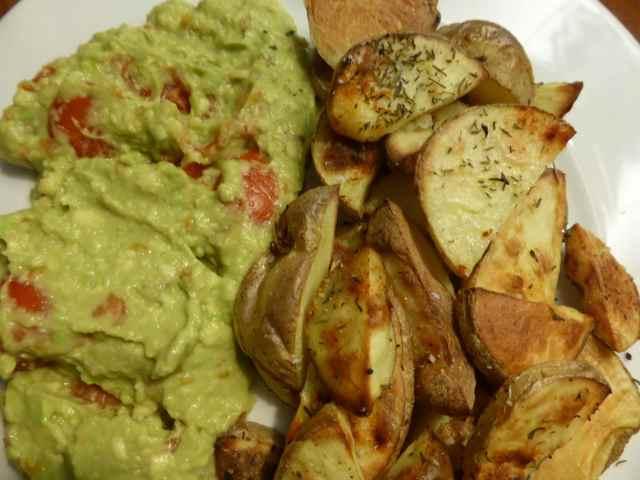 baked potato and guacamole