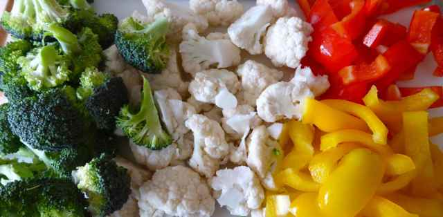 broccoli, cauliflower and peppers
