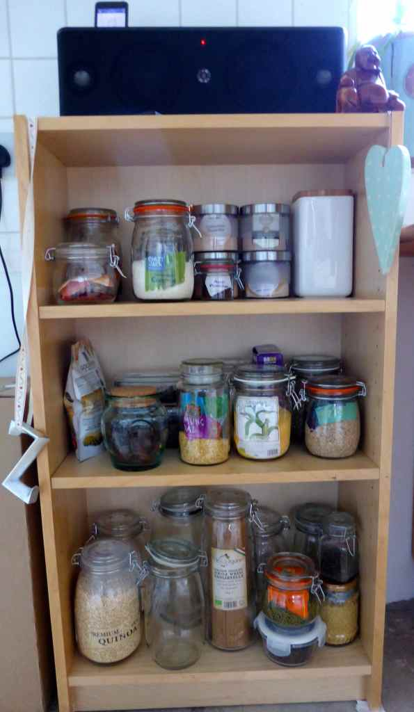 jars on small shelves