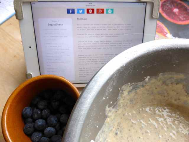 making blueberry pancakes