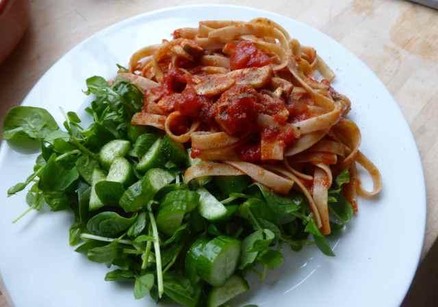 pasta and salad