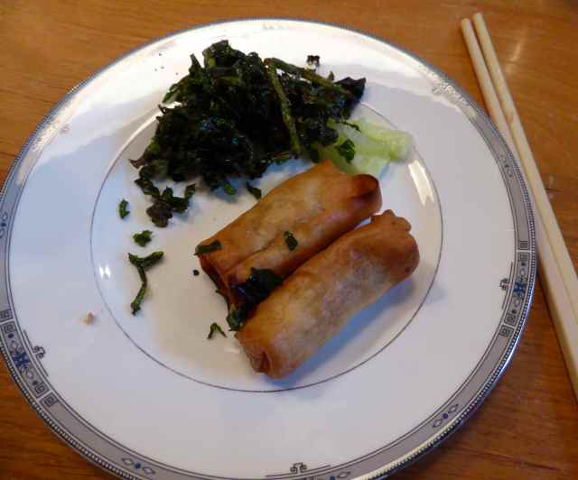 spring rolls and seaweed