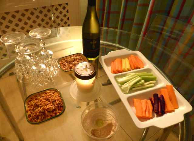 wine and dips