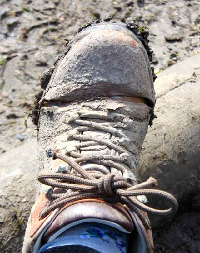 cracked walking boot