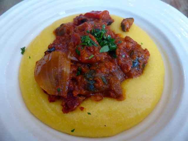 polenta and aubergine