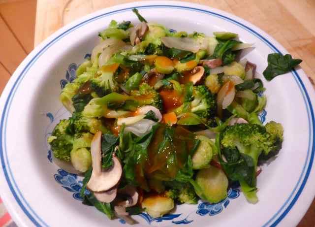 water fried vegetables
