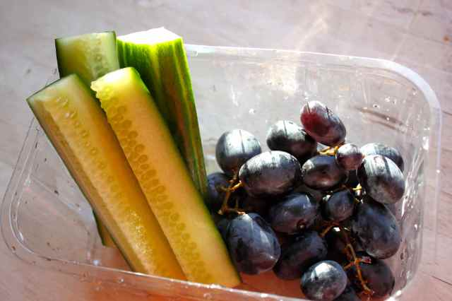 cucumber and grapes