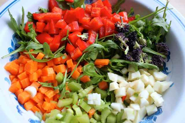 diced veg in salad