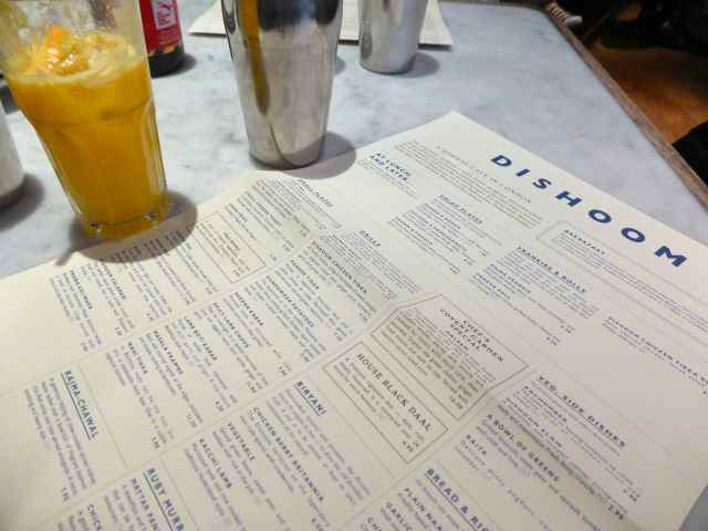 Dishoom menu and juice