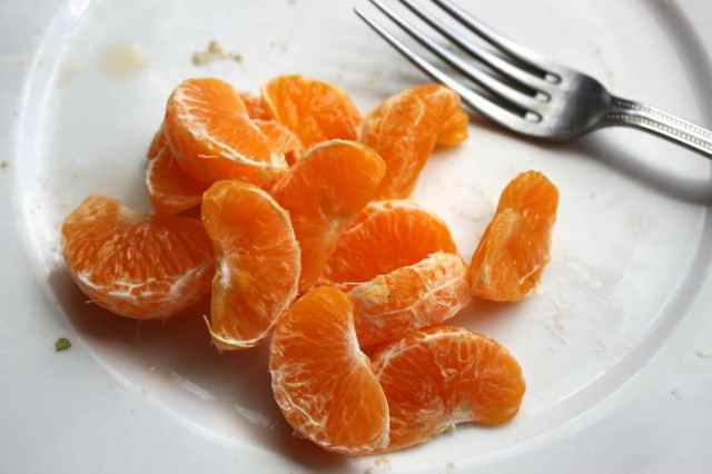 mandarins and fork
