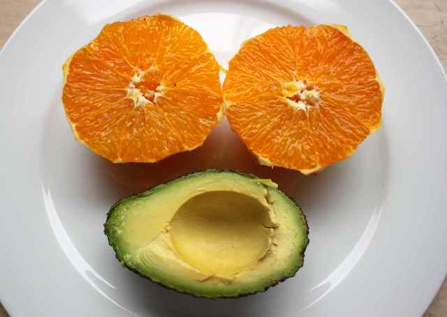 orange and avocado face