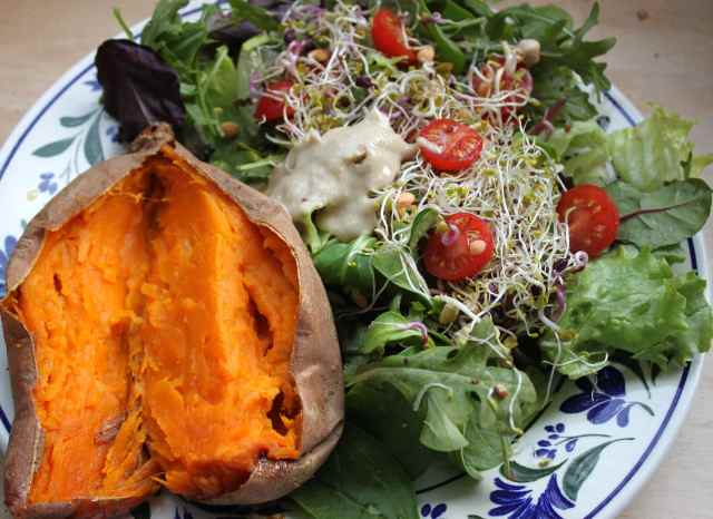 sweet potato, salad, sprouts
